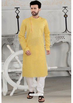 Yellow Polly Linen Thread Embroidered Kurta Pajama