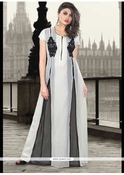 White Pure Georgette Cut Work Designer Gown