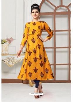 Yellow Rayon Printed Party Wear Kurti