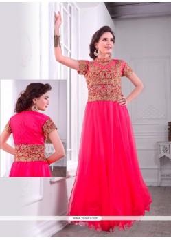 Floral Net Embroidered Work Designer Gown