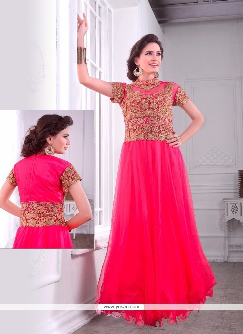 Floral Net Embroidered Work Designer Gown