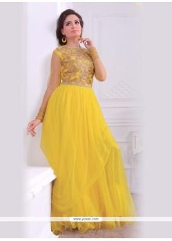 Brilliant Yellow Net Floor Length Gown