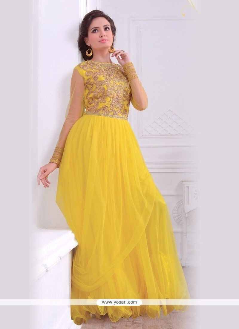 Brilliant Yellow Net Floor Length Gown