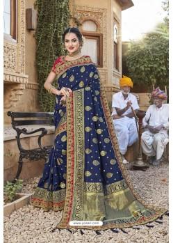 Navy Blue Weaving Silk Embroidered Stone Worked Designer Saree