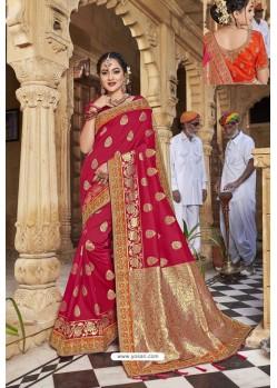 Red Weaving Silk Embroidered Stone Worked Designer Saree