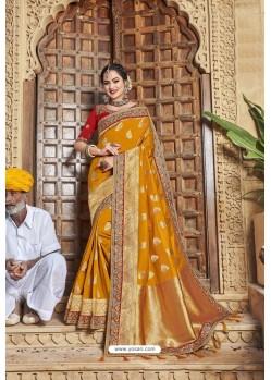 Mustard Weaving Silk Embroidered Stone Worked Designer Saree