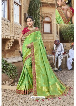 Parrot Green Weaving Silk Embroidered Stone Worked Designer Saree