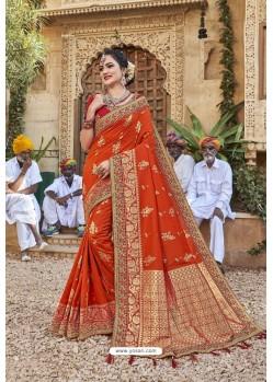 Orange Weaving Silk Embroidered Stone Worked Designer Saree