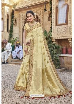 Cream Weaving Silk Embroidered Stone Worked Designer Saree