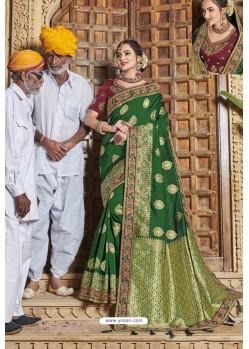 Dark Green Weaving Silk Embroidered Stone Worked Designer Saree