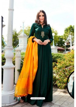 Dark Green Muslin Handworked Designer Gown