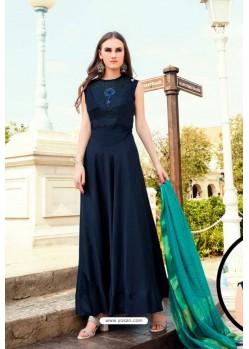 Navy Blue Muslin Handworked Designer Gown