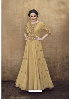 Beige Rayon Heavy Embroidered Gown