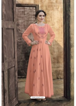 Peach Rayon Heavy Embroidered Gown