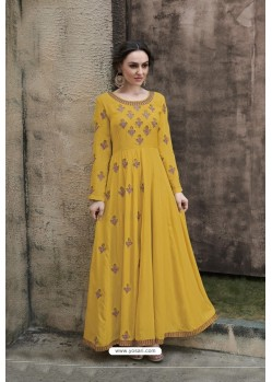 Yellow Rayon Heavy Embroidered Gown
