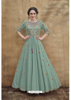 Grayish Green Rayon Heavy Embroidered Gown