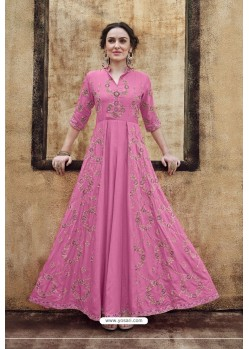 Hot Pink Rayon Heavy Embroidered Gown