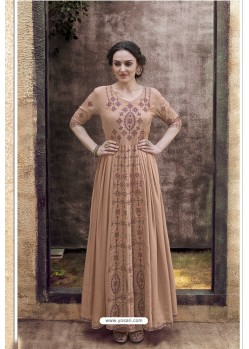 Light Brown Rayon Heavy Embroidered Gown