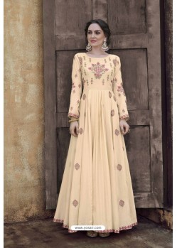 Cream Rayon Heavy Embroidered Gown