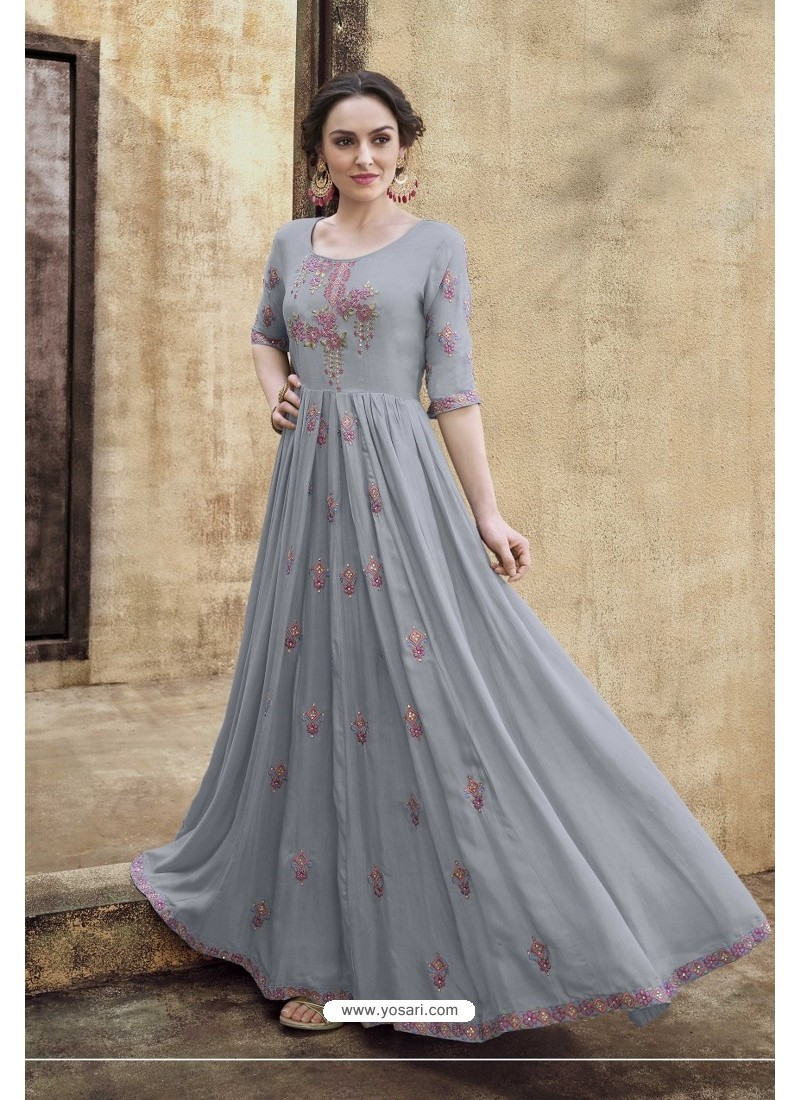 Grey Rayon Heavy Embroidered Gown
