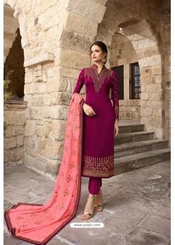 Purple Satin Georgette Designer Straight Suit