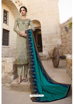 Olive Green Satin Georgette Designer Straight Suit