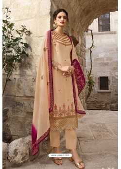 Cream Satin Georgette Designer Straight Suit