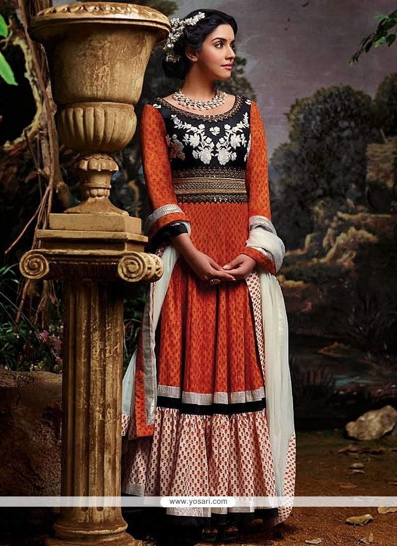 Extraordinary Orange Jacquard Anarkali Suits