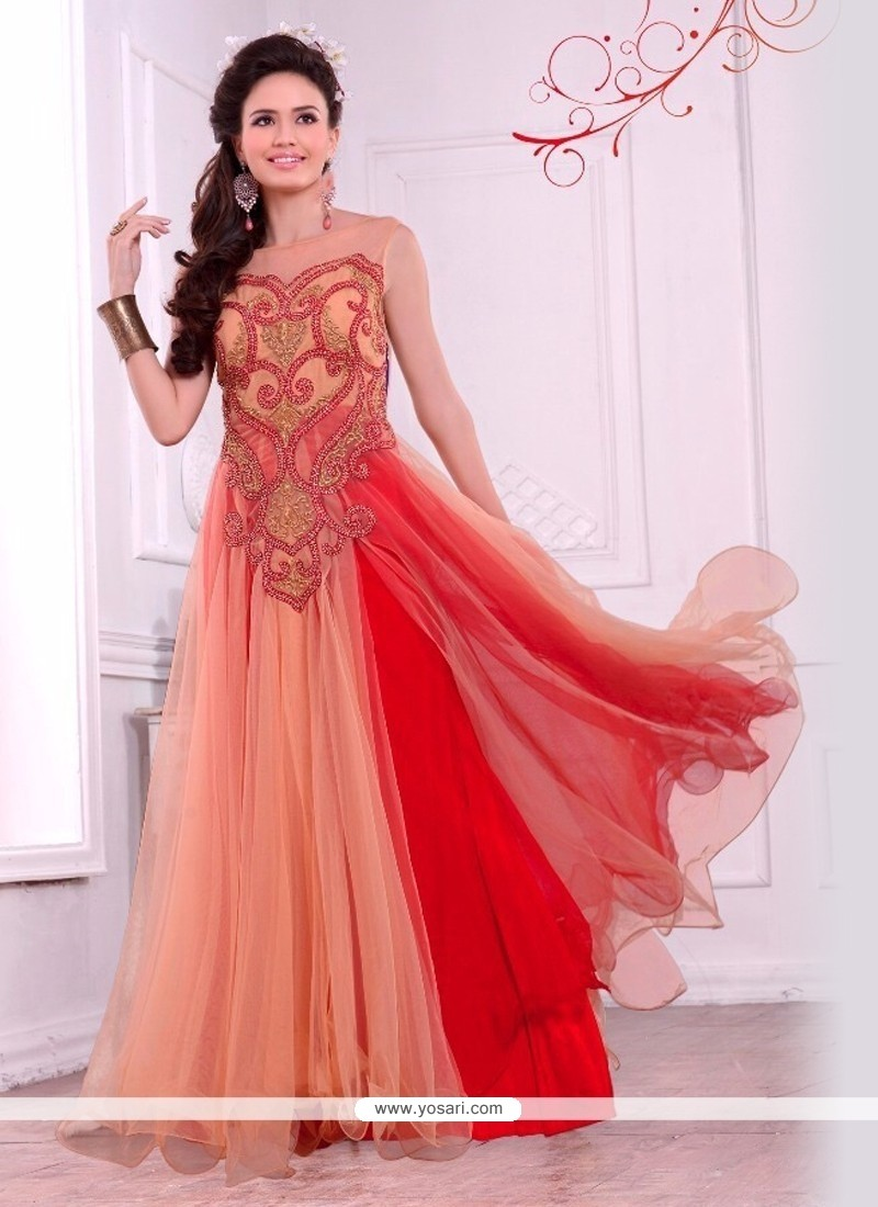 Astounding Embroidered Work Net Gown