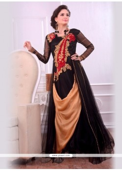 Winsome Black And Beige Embroidered Work Designer Gown