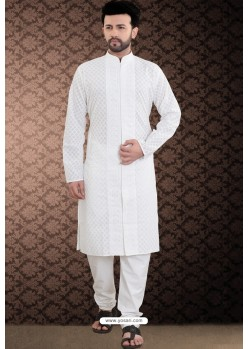 White Front Open Cotton Polly Kurta Pajama