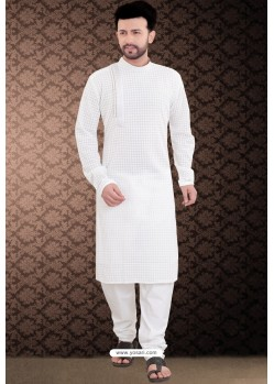 White Side Open Cotton Polly Embroidered Kurta Pajama