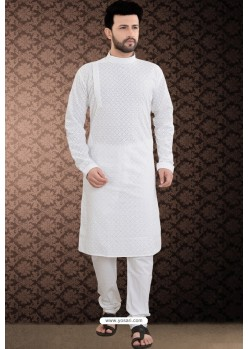 White Cotton Polly Chikankari Embroidered Kurta Pajama