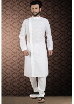 White Side Open Cotton Polly Chikankari Embroidered Kurta Pajama