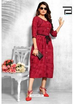 Red Rayon Printed Readymade Kurti