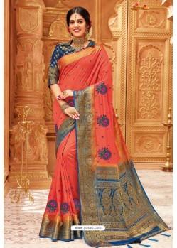 Light Red Weaving Silk Designer Saree