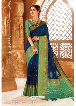 Peacock Blue Weaving Silk Designer Saree