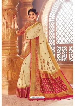 Cream Weaving Silk Designer Saree