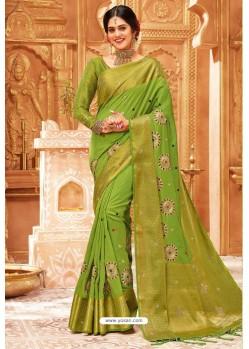 Parrot Green Weaving Silk Designer Saree
