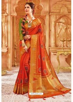 Orange Weaving Silk Designer Saree