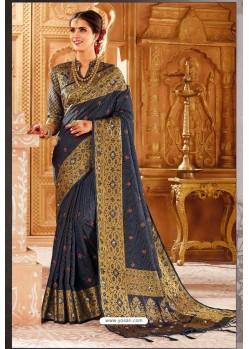 Navy Blue Weaving Silk Designer Saree