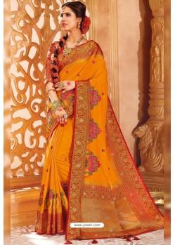 Mustard Weaving Silk Designer Saree