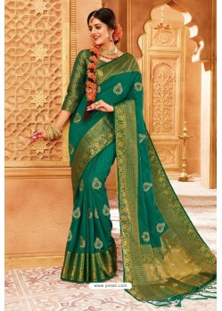 Teal Weaving Silk Designer Saree