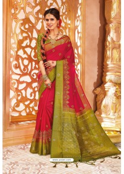 Red Weaving Silk Designer Saree