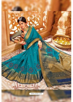 Turquoise Weaving Silk Designer Saree