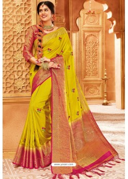 Yellow Weaving Silk Designer Saree