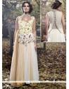 Elegant Beige And White Designer Gown