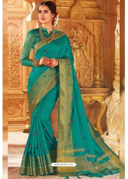 Aqua Mint Weaving Silk Designer Saree