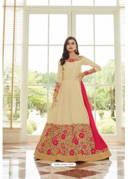 Stunning Cream Mulberry Silk Designer Floor Length Suit