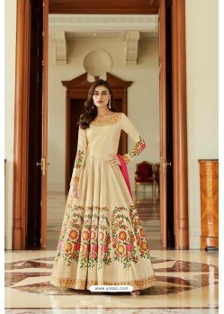Extra Ordinary Cream Mulberry Silk Floor Length Suit